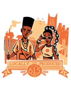 "illustration of black man and woman with a banner that says ""locally produced"""