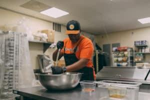 chef jason mixing ingredients